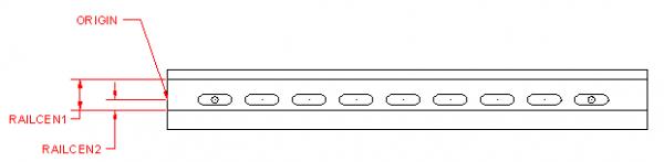 Обозначение специальных геометрических размеров DIN-рейки
