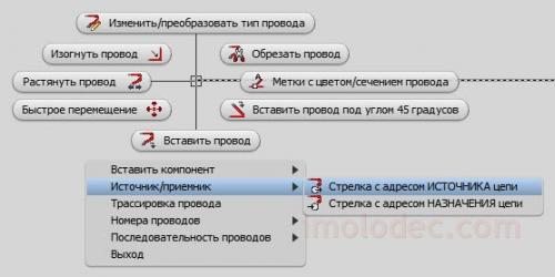 Стрелка с адресом ИСТОЧНИКА цепи в Отслеживающем меню