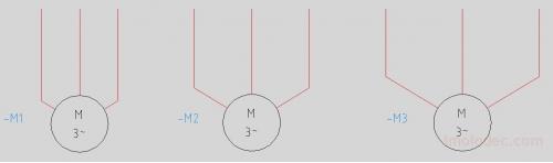 Варианты вставки на схему 3-фазного двигателя