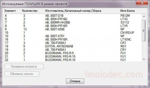 Окно Используемые ПОЗИЦИИ В рамках проекта