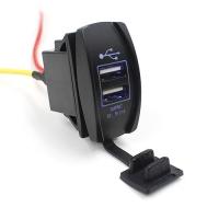 USB адаптер прямоугольной формы с двумя разъемами, заглушкой и подсветкой