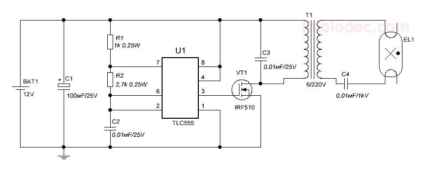 Светодиод к аккумулятору 12 вольт схема