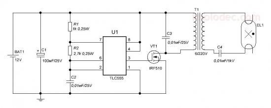 Схема устройства резервного освещения 12В