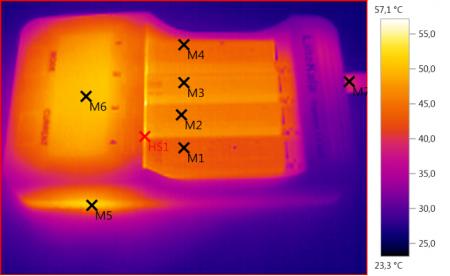 Lii-500 на экране тепловизора при зарядке 4 Li-ion аккумуляторов