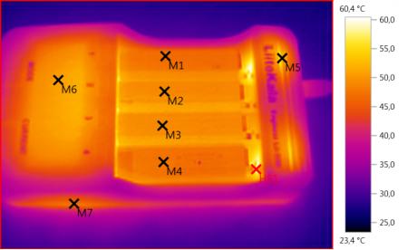 Lii-500 на экране тепловизора при Быстром тесте 4 Li-ion аккумуляторов