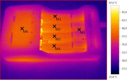 Lii-500 на экране тепловизора при Быстром тесте 4 NiMH аккумуляторов