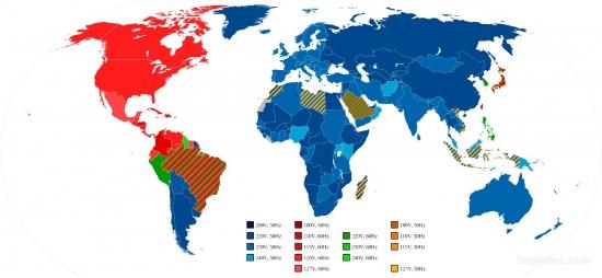 Карта напряжений и частот мира