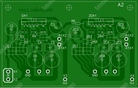 Печатная плата усилителя на TDA7294 по мостовой схеме