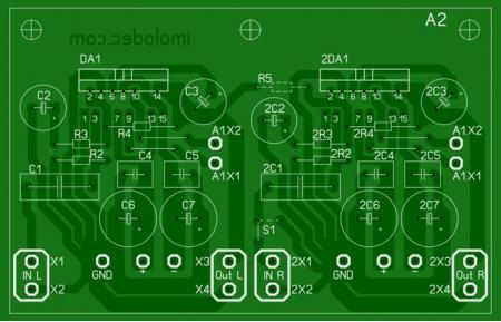 Комбинированная (универсальная) печатная плата для усилителя на TDA7294