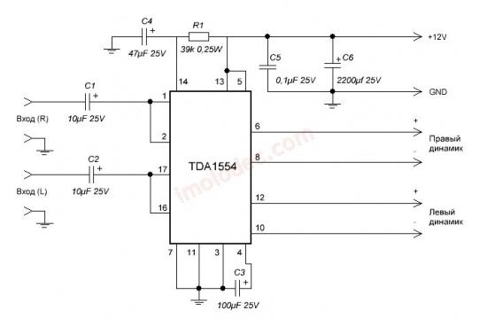 Схема усилителя звука на TDA1554