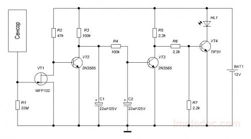 Схема простого сенсорного выключателя