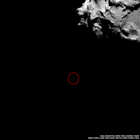 Последний снимок, на котором виден спускаемый аппарат Philae