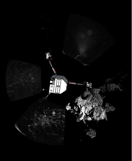 Первый панорамный снимок на поверхности кометы. Как вы можете видеть, там действительно очень темно