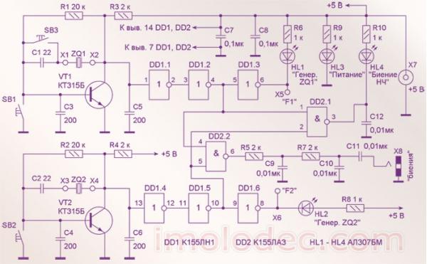 Схема устройства подбора кварцевых резонаторов