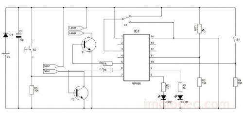 Схема лазерной сигнализации